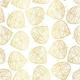 Elegant gold foil scattered stylized leaves seamless vector background on white. Subtle abstract pattern. Repeating texture. Foilage. For wedding, baby shower stock illustration