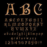 Elegant Gold Font, Alphabet, ABC and numbers. Elegant Gold Font,Alphabet, ABC and numers Vector vector illustration