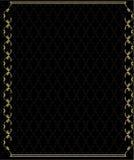 Elegant gold frame 2. Gold rectangular frame on a patterned black background Royalty Free Stock Image