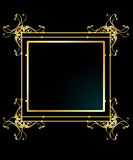 Elegant gold frame background. With green center isolated on black vector illustration