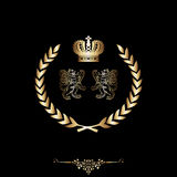 Elegant gold frame banner with crown!! Royalty Free Stock Photography
