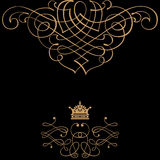 Elegant gold frame banner with crown Royalty Free Stock Images