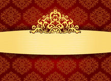 Elegant gold frame on pattern wallpaper Royalty Free Stock Photography