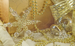 Elegant Gold Holiday Decorations Royalty Free Stock Images