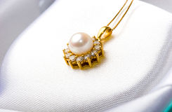 Elegant Gold Jewelry Gift Pearl Diamond Pendant Royalty Free Stock Images