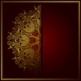 Elegant gold line art ornamental lace circle Stock Photos