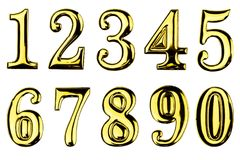 Elegant gold numbers set isolated on white background. With clipping path Royalty Free Stock Photo