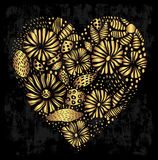 Elegant gold ornamental heart shape Royalty Free Stock Photography