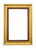 Elegant gold picture frame on white Stock Images