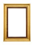 Elegant gold picture frame on white. Studio shot of an elegant gold wooden frame isolated on white stock images