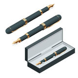 Elegant gold plated business fountain pen  on white background. Flat 3d vector isometric illustration.  Royalty Free Stock Photos