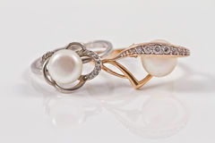 Elegant gold and silver ring with pearls Stock Photo