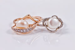 Elegant gold and silver ring with pearls Stock Photos