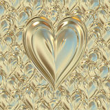 Elegant gold valentines heart Royalty Free Stock Photo