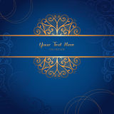 Elegant gold vector card template on dark blue background Stock Photo