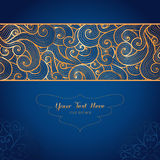 Elegant gold vector card template on dark blue background. Vector card template with swirly gold ornament on dark blue background. Can be used for packaging Stock Image