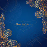 Elegant gold vector card template on dark blue background Royalty Free Stock Images