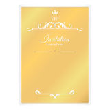 Elegant golden card for invitations. With leafy elements of Victorian style. Like a loose leaf in an envelope. Colors are brown wi Stock Image