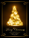 Elegant golden Christmas card. Warmly sparkling Christmas tree made of defocused light dots on dark brown background. Light effects give it a radiating glow Royalty Free Stock Photography