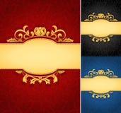 Elegant golden frame banner with ornate wallpaper background. A collection of royal aged damask parchment backgrounds royalty free illustration