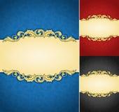 Elegant golden frame banner with ornate wallpaper background. An illustration collection of royal aged damask parchments stock illustration