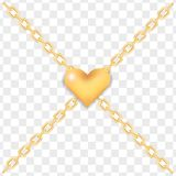Elegant golden heart on crossed gold chains, lock. Elegant golden heart on crossed gold ring chains on transparent background. Luxury glossy golden heart, lock Royalty Free Stock Image