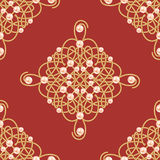 Elegant golden knot sign. Red and golden seamless pattern, beautiful calligraphic flourish with pearls. Vector Royalty Free Stock Photo