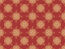 Elegant golden knot sign. Red and golden yellow seamless pattern, beautiful calligraphic flourish with pearls. Stock Images