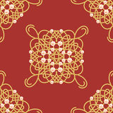 Elegant golden knot sign. Red and golden yellow seamless pattern, beautyful calligraphic flourish with pearls. Vector Royalty Free Stock Images
