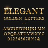Elegant golden letters. Shiny gold vector alphabet. Letter type golden metallic, abc and numbers yellow illustration stock illustration