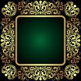 Elegant golden ornamental Frame on dark green Royalty Free Stock Photo