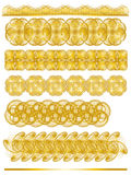 Elegant golden ornamental trim collection. Over white Royalty Free Stock Photo