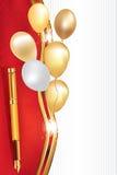 Elegant golden red celebration background with balloons Stock Photo