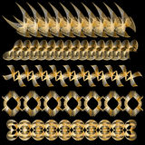 Elegant golden trim or border collection. Over black background Royalty Free Stock Photography
