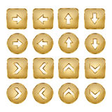 Elegant Golden Vector Web Buttons Arrows Stock Image