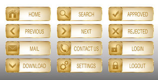 Elegant Golden Vector Web Buttons Icons Set Stock Photo