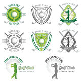 Elegant Golf Club Logos. Eight Colorful Logos and Placards for Golf Club Organizations or Tournament Events Stock Photo