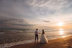 Elegant gorgeous bride and groom walking on ocean beach during sunset time. Romantic walk newlyweds on tropical island royalty free stock photography