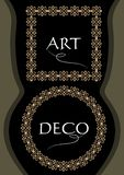 Elegant gorgeous golden frames, square and circle shapes in art deco style, useful for leaflet, flyer, product package. Decoration, vector EPS 10 stock illustration