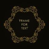 Elegant gouden kader in in overzichtsstijl Stock Afbeeldingen