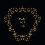 Elegant gouden kader in in overzichtsstijl Royalty-vrije Stock Foto's