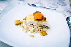 Elegant gourmet meal. With salmon and rice Royalty Free Stock Photography