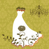 Elegant gown with lace trim. Elegant hand crafted gown with flower and lace trim stock illustration
