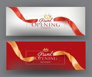 Free Elegant Grand Opening Gold And Red Invitation Card With Sparkling Ribbons. Stock Photography - 160484622