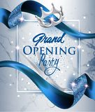 Elegant grand opening invitation card with blue textured curled blue ribbon and marble background. Vector illustration royalty free illustration