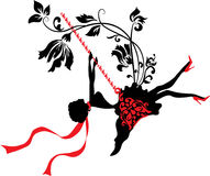 Elegant graphic silhouette of a woman. On swing . Fashion illustration Royalty Free Stock Image