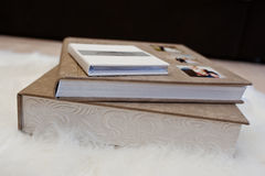 Elegant gray brown and white leather wedding book or album. Royalty Free Stock Images