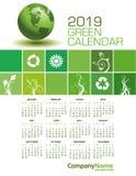 An Elegant 2019 Green Calendar royalty free illustration