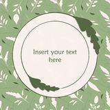 Elegant green and cream hand drawn leaves illustration. Round leaf frame to insert your own text. Great for spa organic stock illustration
