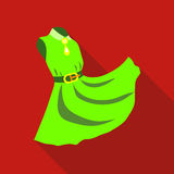 Elegant green dress icon, flat style Royalty Free Stock Photography